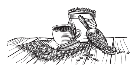 Coffee cup and coffee beans on wood table in graphic style hand-drawn vector illustration. Illustration