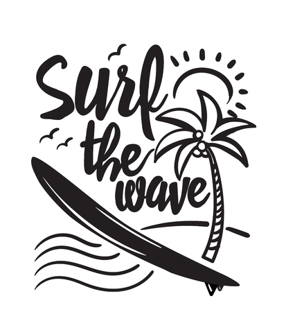 Insignia retro que practica surf del verano. Concepto que practica surf para la camisa o el logotipo, impresión, sello. Ilustración vectorial.