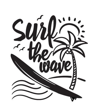 Sommer-Surfen Retro-Abzeichen. Surfing-Konzept für Hemd oder Logo, Druck, Stempel. Vektor-Illustration.