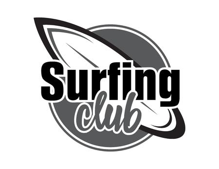 graphics design: Summer surfing retro badge. Surfing concept for shirt or logo, print, stamp. Vector illustration.