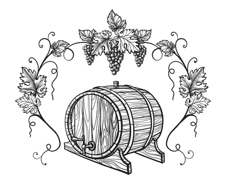 Vector sketch of grapes, wine glass, barrel on background for design