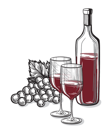 Vector sketch of grapes, wine glass on background for design Illustration