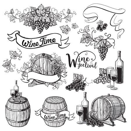 Set van wijnemblemen in grafische stijl handgetekende vectorillustratie