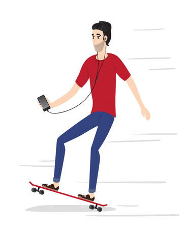 earphone: Hipster character on longboard. Isolated vector illustration. Illustration