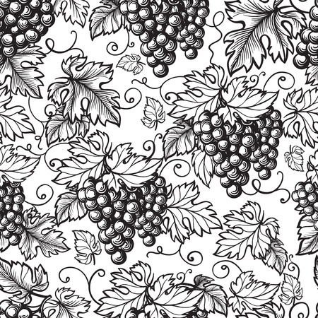 seamless texture grapes vine ornament. hand drawn illustration. Vectores
