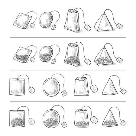 set of tea bags set collection sketch hand drawn
