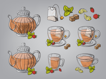 Collection of tea leaves and teapot hand drawn vector illustration.