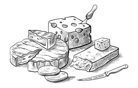 白の背景にベクトル スケッチのチーズ セットのさまざまな種類を作るチーズ。