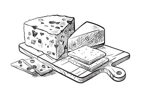 チーズは白の背景にベクトル スケッチのチーズ セット各種を作る