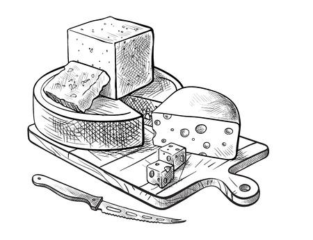 치즈의 다양 한 유형을 만드는 치즈 흰색 배경에 벡터 스케치의 집합