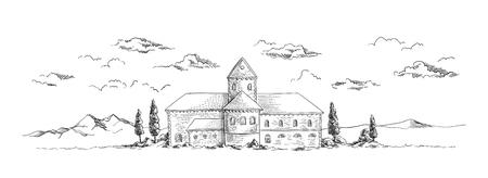 Ancien château avec des arbres illustration vectorielle croquis dessiné à la main Banque d'images - 80036376