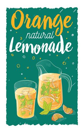 tumbler: Vector Home made lemonade with strawberry and slice of lemon illustration. Hand drawn sketch of soft drink for restaurant, bar, cafe menu design