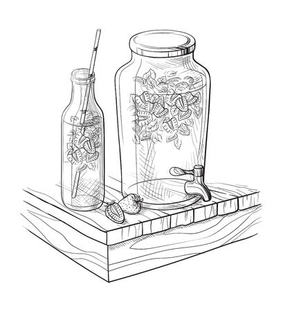 Vector Home made lemonade with strawberry and slice of lemon illustration. Hand drawn sketch of soft drink for restaurant, bar, cafe menu design