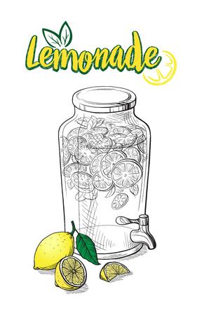 Vector Home made lemonade with straw and slice of lemon illustration. Hand drawn sketch of soft drink for restaurant, bar, cafe menu design