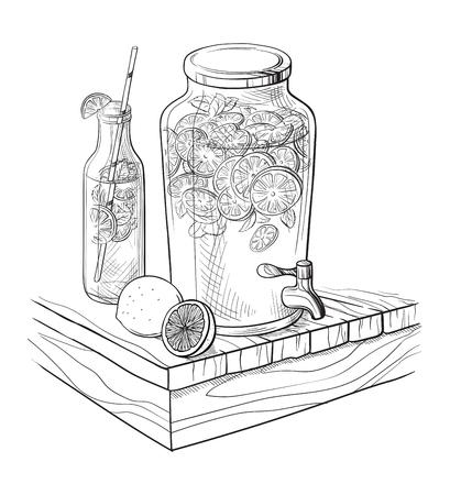 decanter: Vector Home made lemonade with strawberry and slice of lemon illustration. Hand drawn sketch of soft drink for restaurant, bar, cafe menu design