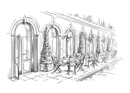 French Street Cafe, Hand drawn Vector Illustration.