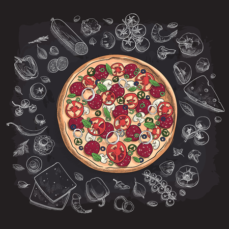 Set of pizza ingredients in doodle style.