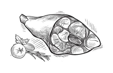 Schweinefleischknöchel lokalisiert auf weißem Hintergrund. Vektor-Illustration Vektorgrafik