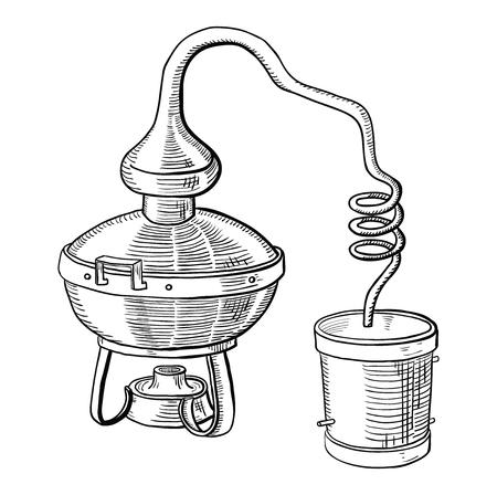 alcohol distillation process. Vector illustration