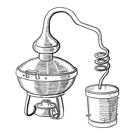 alcohol distillation process. Vector illustration