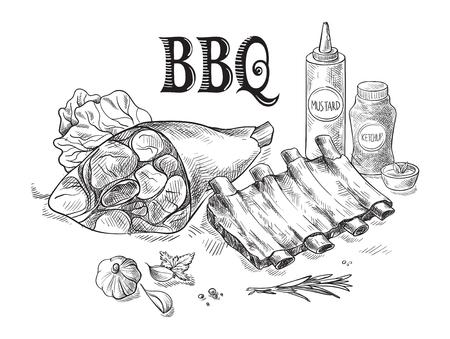 Żeberka wieprzowe i golonka z sosem na białym tle. Ilustracja wektorowa. Ilustracje wektorowe