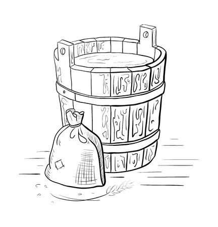 Alcohol distillation process. Vector illustration Illustration