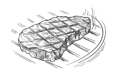 Vleeslapje vlees bij de grill op witte achtergrond wordt geïsoleerd die. Vector illustratie Vector Illustratie