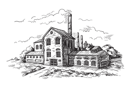 industrial distillery factory. Vector illustration Illustration