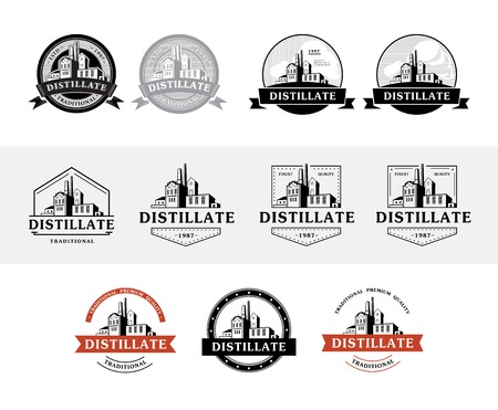 Set of distillery production icons. Vector illustration.