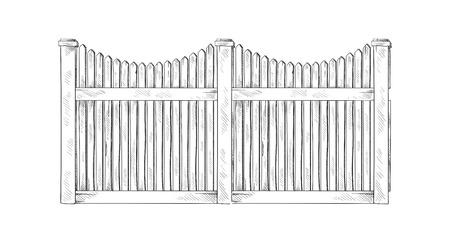 Bosquejo de madera valla. Ilustración vectorial Ilustración de vector