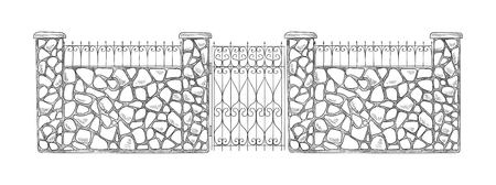 Brick sketch fence. Vector illustration  イラスト・ベクター素材