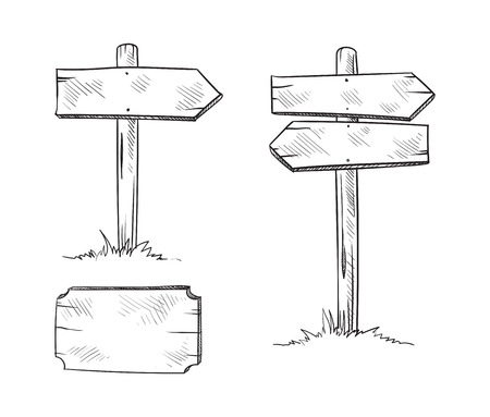 Set of Wooden board on a grass. Vector illustration