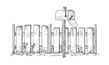 Wooden sketch fence with postbox. Vector illustration Иллюстрация