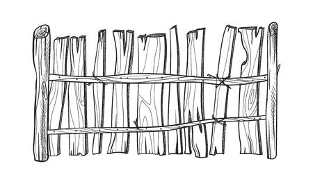 Wooden sketch fence. Vector illustration Vectores