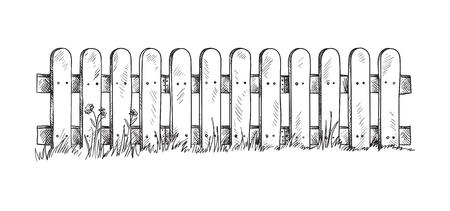 Wooden sketch fence. Vector illustration Stock Illustratie