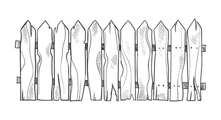 Wooden sketch fence. Vector illustration Vettoriali