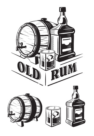 Sketch Whiskey Bottle and Glass and Barrel. Hand Drawn Drink Vector Illustration