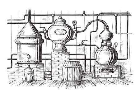 Alembic still for making alcohol inside distillery, distilling spirits sketch.