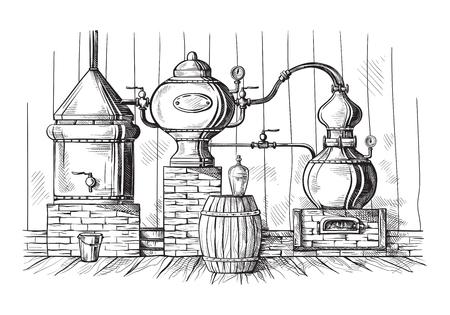 Alembic nog steeds voor het maken van alcohol in distilleerderij, destillerende geesten schets.