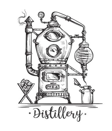 Alambic toujours pour faire de l'alcool à l'intérieur de la distillerie, esquisse des esprits de distillation. Vecteurs