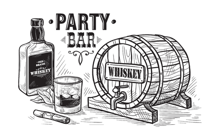 Sketch Whiskey Bottle and Glass and wooden barrel. Hand Drawn Drink Vector Illustration Ilustração