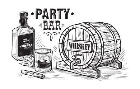 Szkic butelkę whisky i szklaną i drewnianą beczkę. Ręcznie rysowane ilustracji wektorowych napój