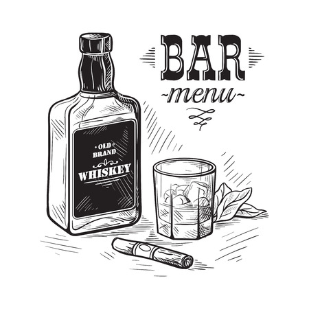 Bottles and glass for alcohol sketch. Vettoriali