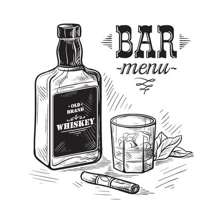 Bottles and glass for alcohol sketch. Illustration