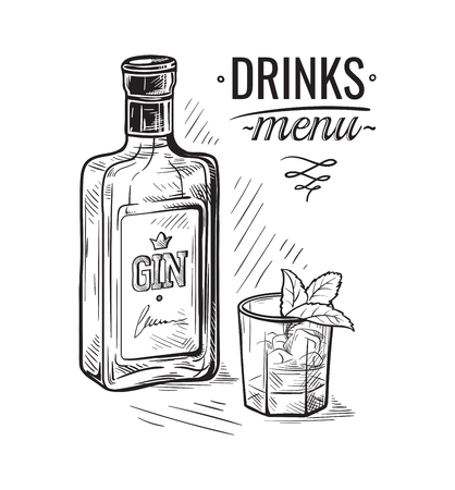 Bottles and glass for alcohol sketch. 일러스트