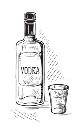 Bottles and glass for alcohol sketch illustration.