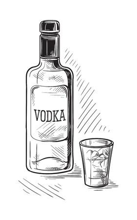 Bottiglie e vetro per l'illustrazione di schizzo dell'alcool.
