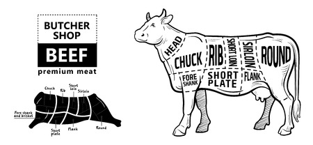 Beef meat part sets for poster butcher diagram on silhouette black with white background illustration.