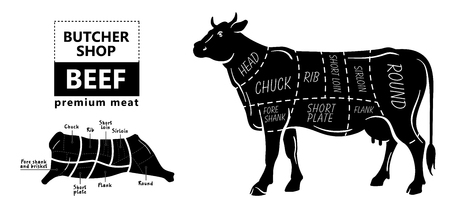 99065330 beef meat part sets for poster butcher diagram on silhouette black with white background illustratio?ver=6 beef meat part sets for poster butcher diagram on silhouette