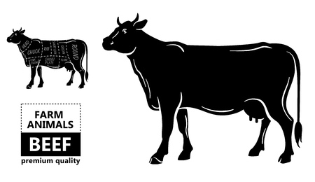99065339 beef meat part sets for poster butcher diagram on silhouette black with white background illustratio?ver=6 beef meat part sets for poster butcher diagram on silhouette